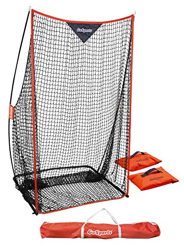 GoSports Football 7' x 4' Kicking Net - Sideline Practice for Punting or Place Kicks, Ultra-Portable Design with Weighted Sand Bags, Black