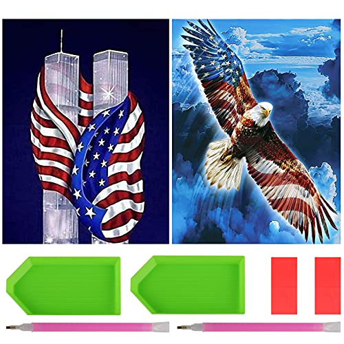 2 Pack DIY 5D Full Drill Diamond Painting Kits, Twin Towers & Flag Eagle Gem Art Craft Paint, Diamond Dots Diamond Art Kits for Adults Kids with Tools Accessories for Home Wall Decor (12'x16')