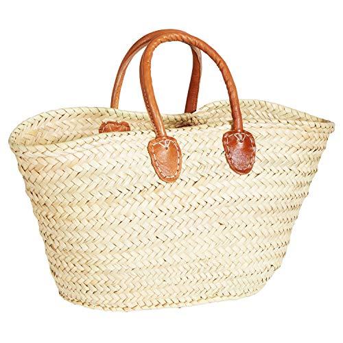 ORIGINAL Ibiza Tasche Korbtasche Strandtasche Cestino 50cm groß | Marokkanische Palmblatt Einkaufskorb Einkaufstasche geflochten XXL | Natur Shopper Umhängetasche Strohtasche für Damen und Herren