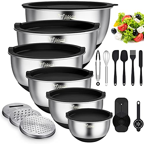 Mixing Bowls with Airtight Lids, 22 PCS Stainless Steel Metal Bowls by Wildone, 3 Grater Attacments, Measurement Marks & Non-Slip Bottom, Size 5, 4, 3, 2,1.5, 0.63QT, Ideal for Mixing & Serving(Black)
