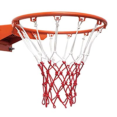 LAO XUE Basketball Net-Replacement Indoor Basketball Net and Outdoor Basketball Net,Fits All Standard Hoops,All Weather Anti Whip,12 Loops,Red/White