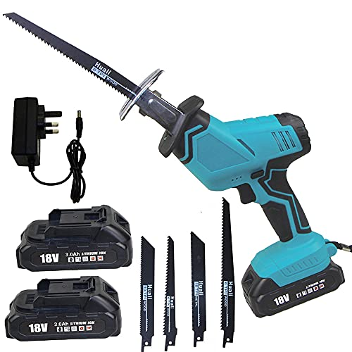 Brushless Reciprocating Saw for Makita 18V, Cordless Electric Saw with 2X 3000mAh Batteries, 4 Saw Blades, 0-2800SPM Variable Speed, Electric Sawzall for Metal/Wood/PVC(1 Batteries and Charger)