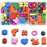 Cuentas de Madera Set de Perlas Colorido Juguete de enhebrar Montessori Educational Toys Juguete de Cuentas de Niños Juguetes de Educación Temprana para niños pequeños y bebés