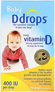 Ddrops Baby 400 IU Vitamin D, 90 Drops, 2.5 ml, 0.08 Fluid Ounce (2 pack)