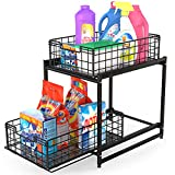 FavoThings Under Sink Cabinet Organizer 2-Tier Stackable Storage Shelf with Sliding Baskets Drawers for Kitchen, Bathroom, Office, Black