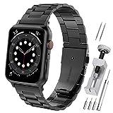 Hianjoo Cinturino Compatibile per Apple Watch 42 mm / 44 mm, Acciaio Inossidabile Braccialetto di Ricambio Cinturini Compatibile per Apple iWatch Series SE/6/5/4/3/2/1 - Ne