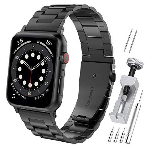 Hianjoo Cinturino Compatibile per Apple Watch 38 mm / 40 mm, Acciaio Inossidabile Braccialetto di Ricambio Cinturini Compatibile per Apple iWatch Series SE/6/5/4/3/2/1 - Nero