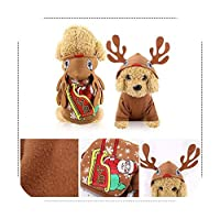 kawayi-桃 クリスマス犬服赤コートパターン犬ペット犬木冬クリスマス服かわいいコート冬秋28-Beige-L