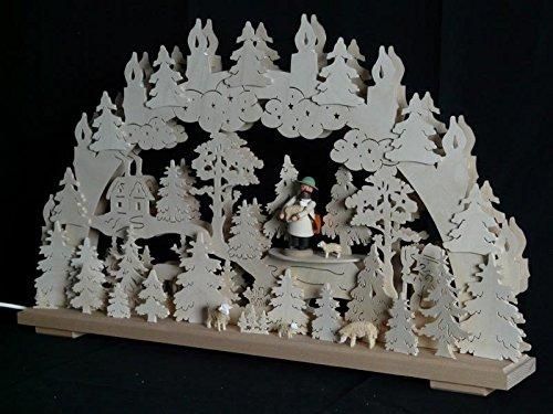 Schwibbogen el. Beleuchtet mit Schäfer und Schafe B x H= 70x43cm NEU Lichterbogen Fensterschmuck Erzgebirge Holz