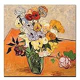 Gymqian Jarrón de Rosas con Estampado de HD, anémonas, Lirios,PinturaAbstracta de Flores de Van Gogh,Pintura en Lienzo, Arte de Pared, póster para Sala de Estar, 40x40 cm sin Marco
