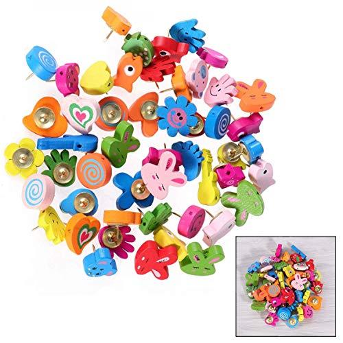 Xrten 50 Stks Cartoon Animal Patroon Houten Push Pins, Kleurrijke Tekening Pins voor foto muur en gipsplaat, Decoratieve Thumbtacks voor thuis en op kantoor gebruik.