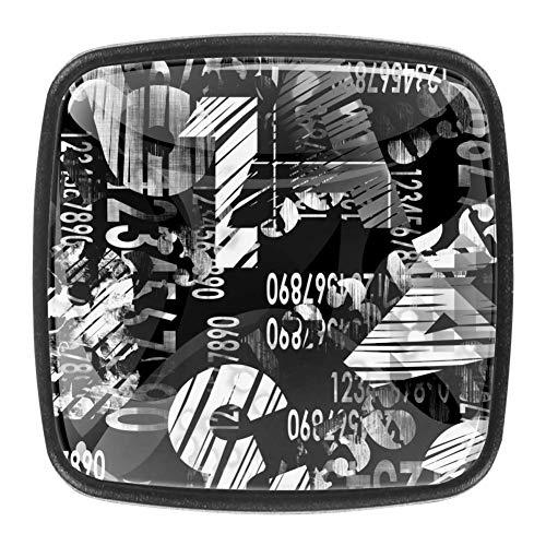 Big Arabic Number 4 Pack cuadrado cristal GlassDoor manija cajón manija manija del cajón, gabinete cajón, gabinete cajón,