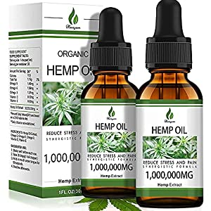 (2-Pack) 1,000,0000MG Organic Hemp Oil Extract - Organically Grown in USA - Co2 Extraction - Hemp Extract Tincture Drops - Rich in Omega3 6 9 - Vegan, Non-GMO