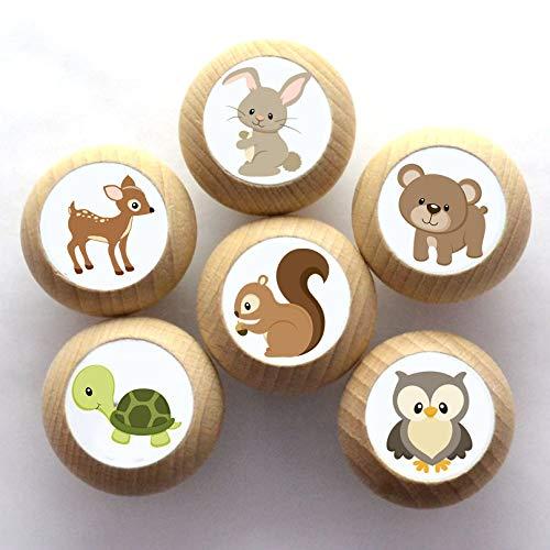 Juego de 6 pomos para muebles con motivos de animales, madera de haya, para habitación infantil, animales del bosque, ciervo, oso, liebre, tortuga, búho, ardilla, animales, 35 mm, redondos