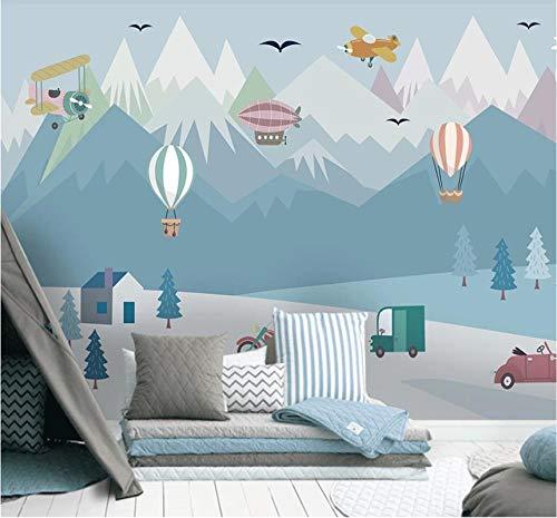 Papel tapiz mural 3D papel tapiz impermeable papel tapiz agua azul dibujos animados globo avión coche niños habitación pintura de fondo-200x140cm