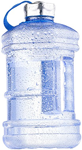 Speeron Große Wasserflasche: Auslaufsichere Trinkflasche mit Tragegriff, 2,3 l, BPA-frei, blau (Trinkflasche mit Henkel)