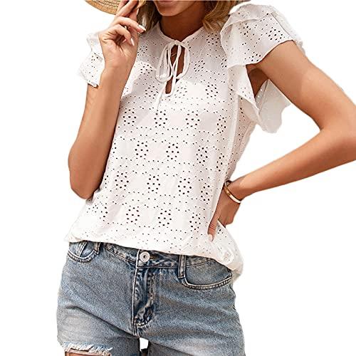 Hotexy Bluas de Mujer Camisa Blusa Mujer Elegante Manga Corta Camisa Suelta Mujer Casual Verano Shirts Elegante