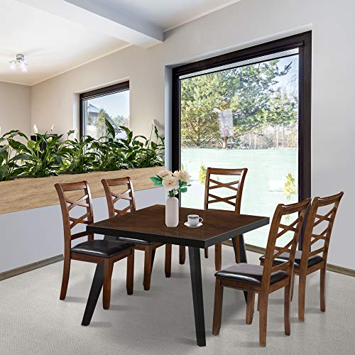LALUZ Dining Room Table, Modern Kitchen Table Mid Century Dining Table Wood Rectangular, Easy Assembly