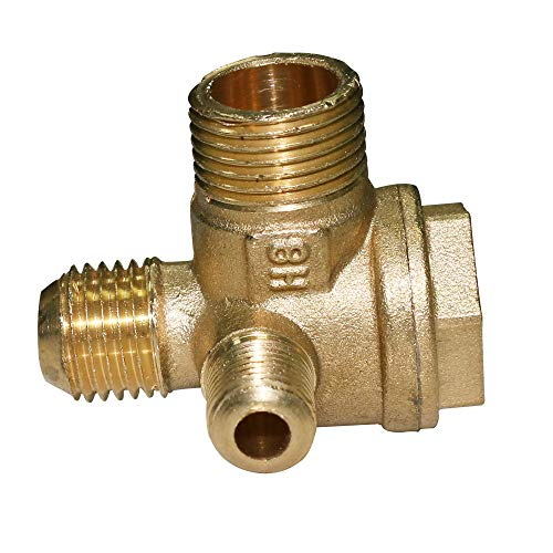 URBEST Tube Connector Air Compressor Check Valve, Full Copper Check Valve, 3 Way Pneumatic Accessory