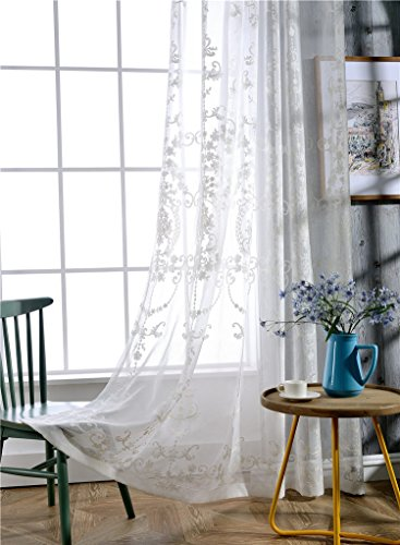 Victorian Design Sheer Curtain Luxurious Pattern Embroidered Rod Pocket Top Breathable Window Decoration For Living Room Bedroom and Office (1 Panel, W 50 x L 63 inch, White Bottom+Silver Embroidery)
