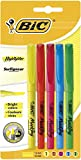 BIC Highlighter Surligneurs Pointe Biseautée - Couleurs Fluo Assorties, Blister de 5