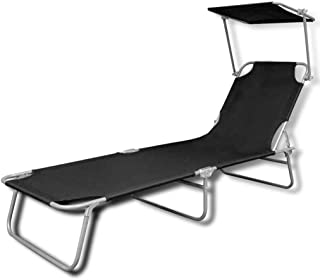 HENGMEI Tumbona de Playa Plegable Tumbona Inclinable Tumbona de Aluminio 188 x56 x 27 cm Negro con toldo