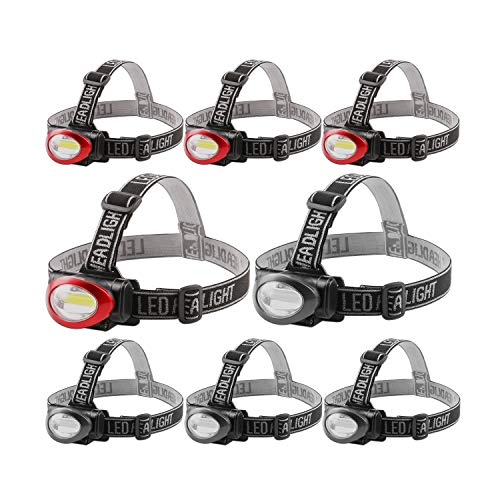 Lichamp Camping Headlamp Flashlight 8 Pack, Outdoor Super Bright COB Head Lamp Gear for Running, Reading, Hiking, Walking, Climbing, Fishing, Hunting, Jogging, Headlight Multipack for Adults, Kids