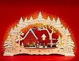 Sikora - Arco de madera con iluminación navideña, diseño de aldea en invierno (43 cm)