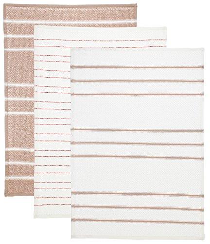 Brandseller - Paño de cocina (100% algodón, absorbente, de secado rápido, resistente, tamaño: 45 x 65 cm, 3 unidades), color beige