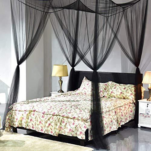 Girls'love talk Moskitonetz für Bett mit Magnetische Vorhang Raffhalter, 4 Einträge Feinste Löcher Mückennetz rechteckiger Fliegennetz Insektenschutz Betthimmel für Doppelbett und Einzel, Schwarz