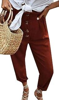 48ed16573e5 BingSai Pantalones de Cintura Alta con Botones para Mujer, Pantalones  Ajustados con Pierna Recta