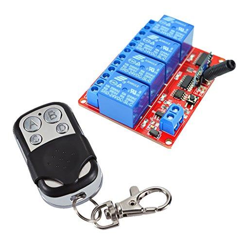 B Blesiya Control Remoto de Relé de 24 V Y 4 Canales con Interruptor de Encendido/Apagado de Anillo
