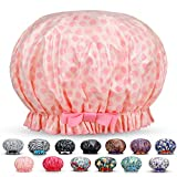Reusable Women Shower Caps Waterproof Print Bath Caps Hat Long Hair Perfect for Women (Pink Point)