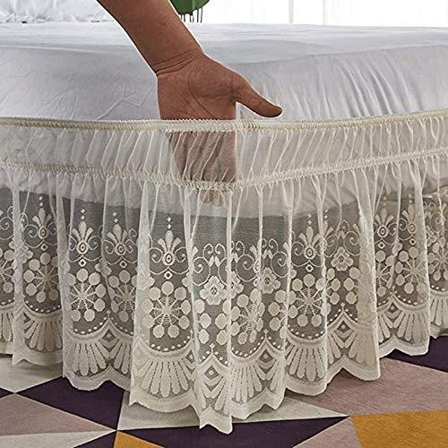 Marke Falda de Cama elástica con Volantes Durable, Envuelve Tres Lados de Tela con una caída de 15 Pulgadas (Color : Beige, Size : 180 * 200+38cm)