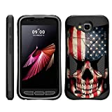 TurtleArmor | Compatible with LG V9 Case | LG X Venture Case | LG X Calibur Case [Compact Shield] Hybrid Dual Layer Hard Shell Kickstand Combat Fitted Case - US Flag Skull