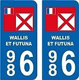 SAFIRMES 2 Autocollants Style Plaque Auto département 986 Wallis ET Futuna