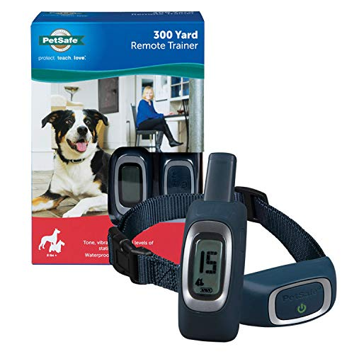 PetSafe 300 Yard Remote Trainer, Rechargeable, Waterproof, Tone / Vibration / 15 Levels of Static Stimulation for dogs over 8 lb.