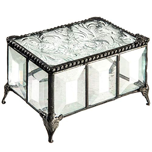 Beveled Glass Box Jewelry Chest Decorative Trinket Keepsake Display Crystal Clear Florentine Stained Glass Gift J Devlin Box 762
