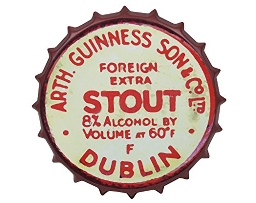 Guinness Vintage Aluminum Bottle Cap Sign (Red) - Metal Wall Decor