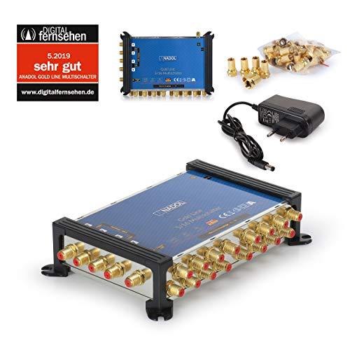 Anadol Gold Line Multischalter 5/16 für Satellit - Multiswitch für 1 Satelliten und 16 Ausgänge/Receiver - Sat-Verteiler externes Netzteil - Multischalter Satanlage - 21 vergoldeten F-Stecker