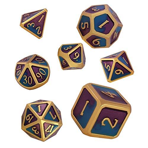 Schleuder Set di Dadi DND in Metallo, 7 Poliedrici Dice D&D da Gioco per Dungeons & Dragons, Rpg Dadi da Gioco di Ruolo Insegnamento della Matematica (Imitation Gold - Blue & Purple)