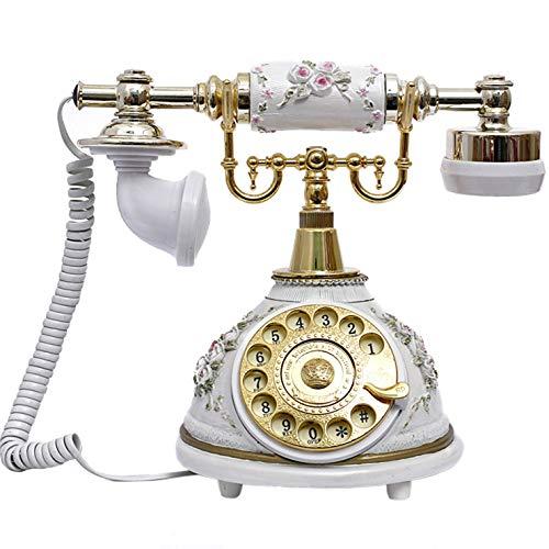 VERDELZ TeléFono Retro/Resina De TeléFono Antigua, DecoracióN De La Oficina En Casa con Dial Giratorio, Blanco