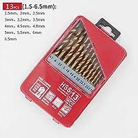 YASE-king 高品質 19分の13 / 25PCS 1.0〜13ミリメートルHSSチタンコーティングされたドリルビットを設定するための金属木工ドリルパワーツールアクセサリーの鉄箱 (Color : 13pc s)