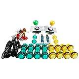 Easyget LED Arcade DIY Parts 2X Zero Delay USB Encoder + 2X 8 Way Joystick + 20x LED Illuminated Push Buttons for Mame Jamma Arcade Project Yellow + Green Kit Sets