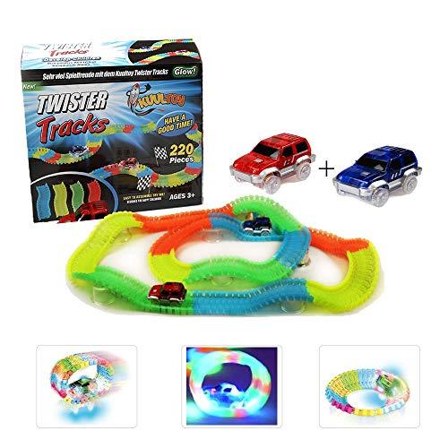 Autorennbahn für Kinder ab 3 Jahren, Kuultoy Magic Truck Twister Tracks E-Auto Konstruktionsspielzeug Starter Set, 220 Schienenteilen und 2 Leuchtende Autos