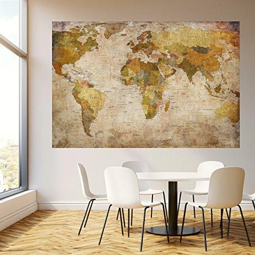 murimage Fototapete Weltkarte 183 x 127 cm inklusive Kleister Landkarte Vintage historisch Shabby alt Worldmap Länder Tapete