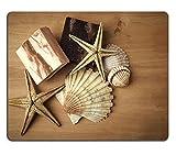 luxlady Naturkautschuk Gaming Mousepads Seifen mit Seestern und Muscheln auf einem Holz Tisch...