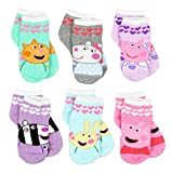 Peppa Pig Girls 6 pack Socks (Shoe: 4-7 (Sock: 2-4), Friends Quarter Multi)