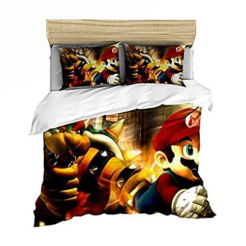 QWAS Super Mario Bros. Funda nórdica de dibujos animados de anime, muy suave y cómoda, para decorar el espacio (A02,140 x 210 cm + 50 x 75 cm x 2)