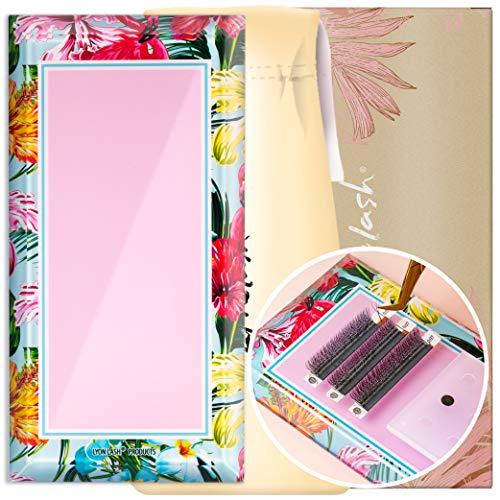 "Lyon Lash Glass Lash Tile & Adhesive Holder with Silk Pouch for Eyelash Extensions   Reusable Lashes Palette 3.2""x6.3""x0.4"" for Classic & Volume Lashing   Eyelash Extension Supplies (Flamingo Jungle)"